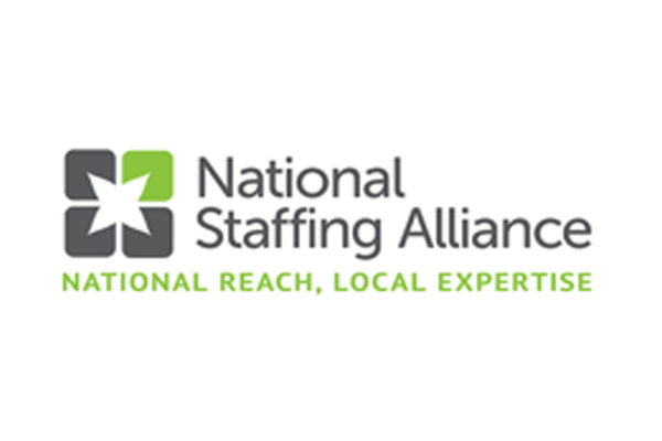 "National Staffing Alliance Logo with slogan, which is: ""National Reach, Local Expertise"""